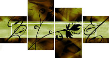 Large Olive Green Multi Panel Wall Art Canvas Pictures Ready to Hang Abstracts