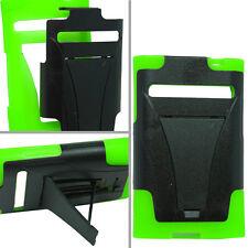 LG Optimus Logic L35G Advanced HYBRID KICK STAND Rubber Case Cover Black Green