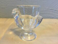 Glass Egg Cups Clear Glass Hen Chicken Shaped Coddler Made in France