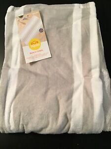 Sun Squad Stripe Beach Towel Gray 62 x 32 100% Cotton
