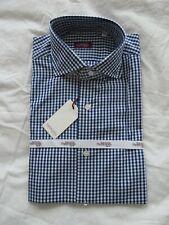 Sartoria Partenopea White/ blue check Luxury hand stitched Italian shirt