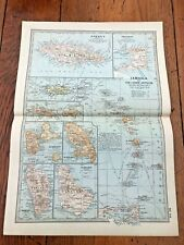 "1903 large colour fold out map titled "" jamaica & the lesser antilles """