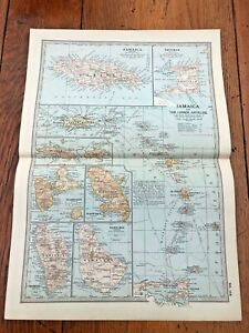 """1903 large colour fold out map titled """" jamaica & the lesser antilles """""""