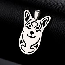 2pcs Stainless Steel Pembroke Cardigan Welsh Corgi Pet Dog Head Pendant No Chain