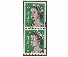 Australia 1966 3c GREEN QEII COIL PAIR, Very Fine USED SG 404