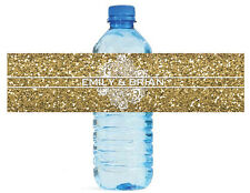 100 Gold Glitter & Lace Wedding Anniversary Engagement Party Water Bottle Labels