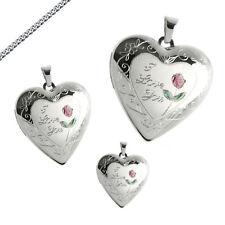 Medaillon mittel Amulett Herz 925 Silber I Love you Ich Liebe Dich auch Gravur