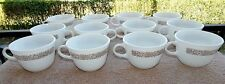"""Set of 12 PYREX CORNING """"WOODLAND BROWN"""" FLORAL PRINT COFFEE/TEA CUPS"""