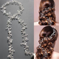 Women Bridal Elegant  Pearl Wedding Hair Vine Crystal Diamante Headbands 35cm