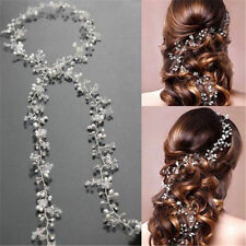 35cm Pearl Wedding Hair Vine Crystal Bridal Accessories Diamante Headbands Jewel