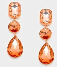 "3"" Drop Long Champagne Peach Rose Gold Crystal Rhinestone Earrings Chandelier"