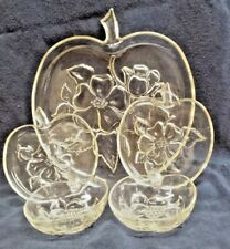 Vintage 5 Piece Clear Pressed Glass APPLE Serving Set 1 Tray ~2 Plates~ 2 Bowls