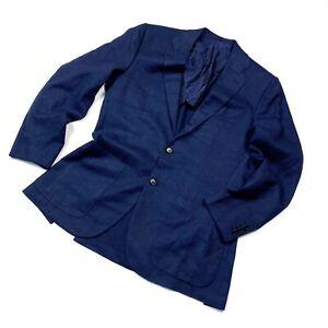 Men's Kiton Cashmere Silk Linen Blazer Navy Coat Size 52