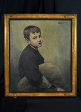 Grand tableau ancien portrait d'enfant garçon Alexandre Louis Martin art  deco