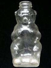 VINTAGE SNOW CREST BEVERAGES CLEAR SYRUP GLASS BEAR BOTTLE BANK SALEM, MA