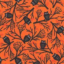 HAPPY HOWLOWEEN ORANGE OWLS & SPIDERWEBS HALLOWEEN FABRIC NO. 3