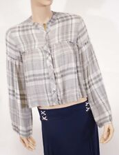 Cloth Stone Grey White Plaid Button Down Kinomo Long Sleeve Top Blouse Shirt XS