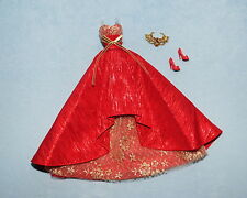 STUNNING! Red & Gold 2014 Holiday Christmas Formal BARBIE Gown Outfit w/ Heels