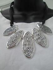 Lagenlook  short Large  Necklace antique silver colour
