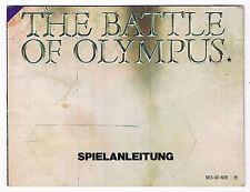 RARE NOTICE VERSION ALLEMAGNE POUR CONSOLE NINTENDO NES : THE BATTLE OF OLYMPUS