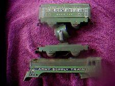 Marx Trains US Army Supply Shell Radio Searchlight Car 1940s 3 Piece Lot Antique