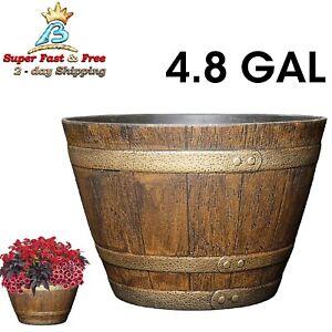 Resin Whiskey Barrel Flower Pot Round Planter 46.62-Quart Indoor Outdoor