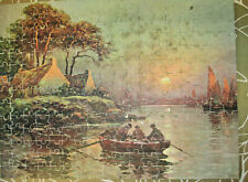 Vintage Milton Bradley Wood Picture Puzzle Fisherfolk of Normandy Complete 1940s