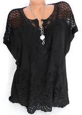 Tunika Shirt Bluse bestickt Häkel Spitze Träumchen Italy Übergröße Schwarz 44 46