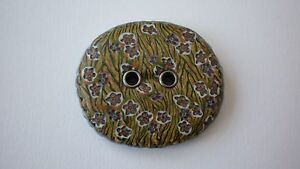 Button 1 x Large Polymer Clay Handmade 2 Holes 55mm x 50mm Multi coloured Craft