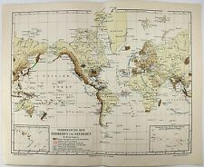 Original 1894 World Map of Earthquakes and Tsunami's by Meyers