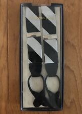 NEW Polo Ralph Lauren Repp Stripe Silk Suspenders Braces Black Gray Made In USA