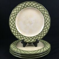 Set of 4 Dinner Plates by Lynn's China Earthenware Emma's Garden Green Lattice