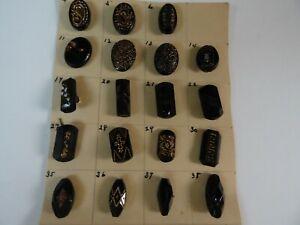 19 ANTIQUE BLACK GLASS ETCHED/GILT OVAL & BAR BUTTONS