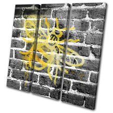 Bee Graffiti Grunge Abstract Urban TREBLE CANVAS WALL ART Picture Print