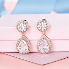 Elegant Sparkly 18K Rose Gold Filled Teardrop Zircon Earrings Bridal Jewellery