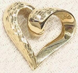 10K SOLID YELLOW GOLD 3D DIAMOND CUT PUFFY HEART SLIDE PENDANT
