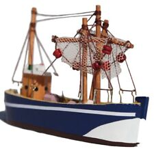 Wooden model trawler with hanging realistic fishing nets