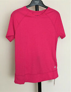 M&S Size 6 Pink Active Sportswear Sports Fitness Short Sleeve Top T-Shirt