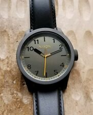Nixon Safari Watch With 43mm Black / Gray Face & Leather Band.