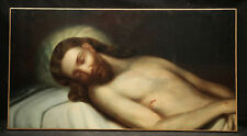 Jesus Christ Dead in Bead, 19th Century Continental School Oil Painting