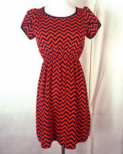 euc Soprano red/blue Chevron Pattern Dress Minidress Elastic Waist sz XS
