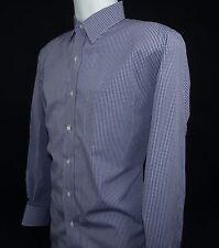 Saks Fifth Avenue Mens Shirt Gingham Blue / White Check Cotton Long Sleeve - 17