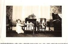 Sweet Girl Kid Plays With Dolls In Cradle Child Rocking Chair Vtg 1930s Photo