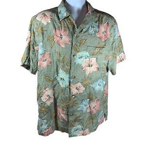 Tommy Bahama Shirt Size Large Green Hawaiian Silk Floral