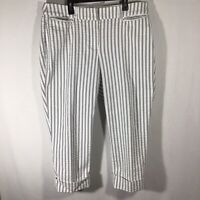 Lane Bryant Curvy Fit The Lena White/Blue Striped Crop Capri Pants Women's Sz 16