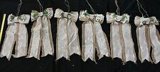 """Hanging Decorations 9.5"""" Burlap & Lace Bows With Streamers  (set of 6)  Lot #5"""