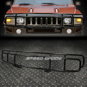 FOR 03-09 HUMMER H2 OE STYLE BLACK STAINLESS STEEL FRONT BRUSH GRILLE GUARD KIT