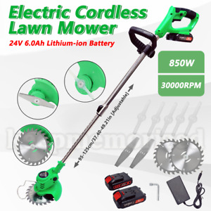 850W 24V Cordless Lawn Weed Cutter Grass Trimmer Portable Electric Mower Pruning