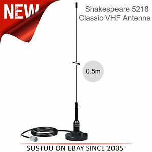 Shakespeare 5218 SS Whip 0.5m Antenna with Magnetic Mount & 4.5m Cable│Black