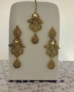 Gold Diamanté Earrings & Tikka Set Indian Party Bollywood Pakistani Hijab Style
